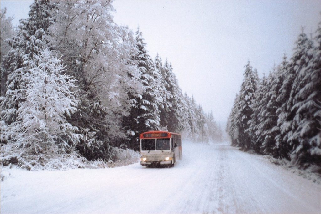 Brinnon Route Bus Driving In Snow.