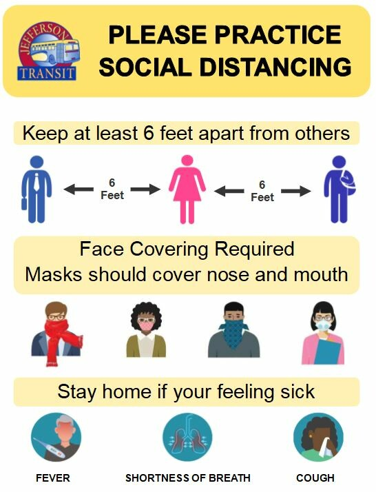 Please practice social distancing. Keep at least 6 feet apart from others. Face covering required. Masks should cover nose and mouth. Stay home if your feeling sick.